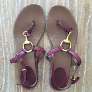 Gucci Burgundy Horsebit Sandals